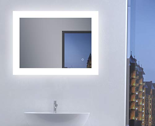 Talos Badspiegel mit Beleuchtung, Weiß, 80 x 60 cm