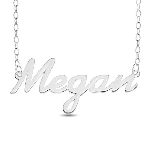 MEGAN Name Necklace 925 Sterling Silver Trace Chain Pendant Gift + Pouch (18)