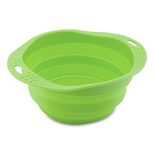 Beco Travel Bowl - Collapsable Silicone Food and Water Bowl for Dogs - S - Green