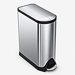 SimpleHuman Stainless Steel Butterfly Step Trash Can- Best Dog proof trash can