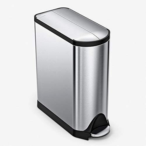 simplehuman 40 Liter / 10.6 Gallon Stainless Steel Dual Compartment Butterfly Lid Kitchen Step Trash Can Recycler, Brushed Stainless Steel