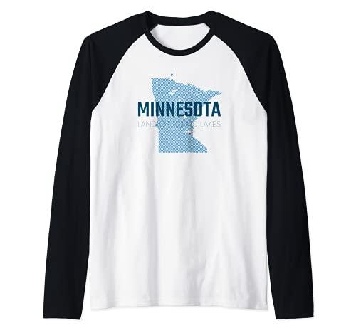 Carte du Minnesota - La terre des 10 000 lacs - État d étoiles du Nord Manche Raglan