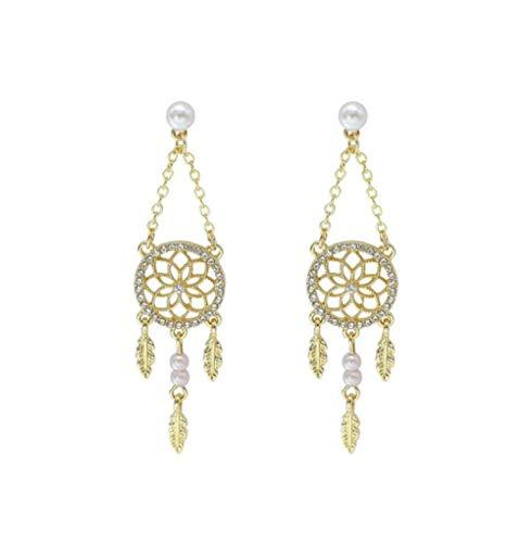 MXHJD Atrapasueños huecos cristales brillantes pendientes colgantes para mujer joyería de fiesta colgante atrapasueños regalo de joyería