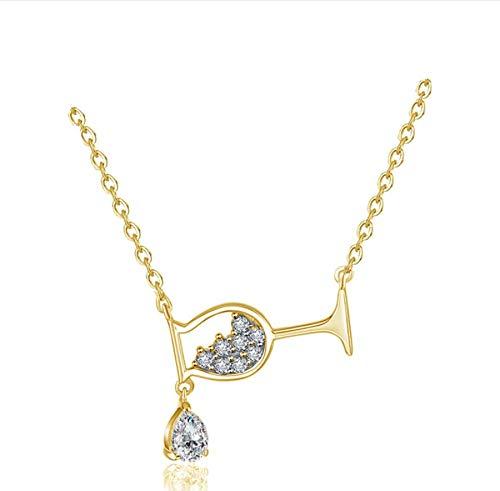 zwyluck kristal zirkoon wijnglas hanger halsketting vrouwen strass luxe halsketting kerstgeschenken voor vrouwen verjaardag sieraden