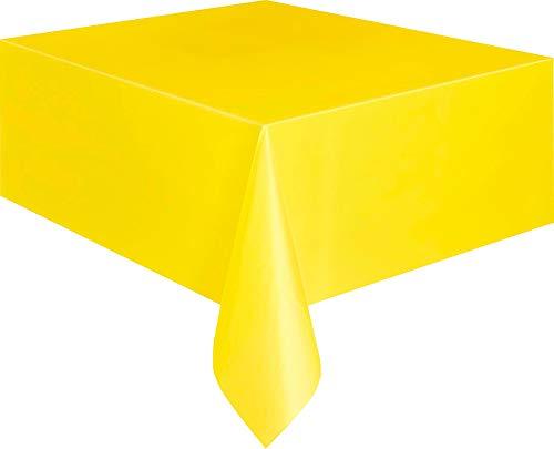 Unique Party- Plastic Tablecover Rectangle Tovaglia Plastificata, Gialla, 5093
