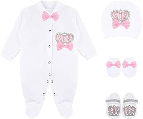 Lilax Baby Girl Newborn Crown Jewels Layette 4 Piece Gift Set 0-3 Months Pink