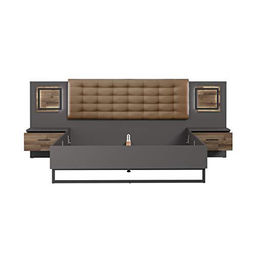 FORTE Bett, Bettanlage (Liegefläche 180cm x 200 cm) mit Polsterkopfteil inklusive Nachttischen und Touch-Beleuchtung, Stabeiche Dekor kombiniert mit Wolfram Grau