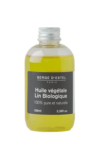 SERGE D'ESTEL PARIS Huile de Lin Bio Première Pression à Froid Gainante Tonifiante Apportant Souplesse/Brillance Idéale pour Cheveux Lissés 100 ml