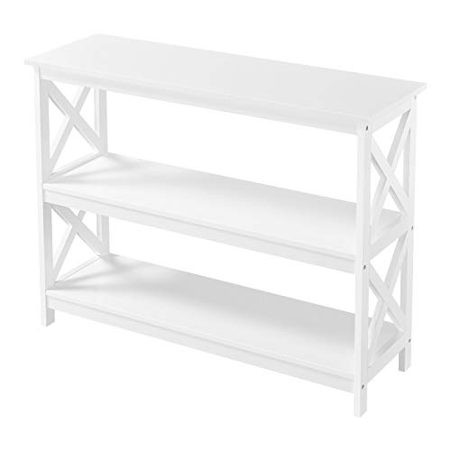 Yaheetech 3 Tier X-Design Console Sofa Side Table Bookshelf Entryway Tables Storage Shelf Living Room Entry Hall Table Furniture, White
