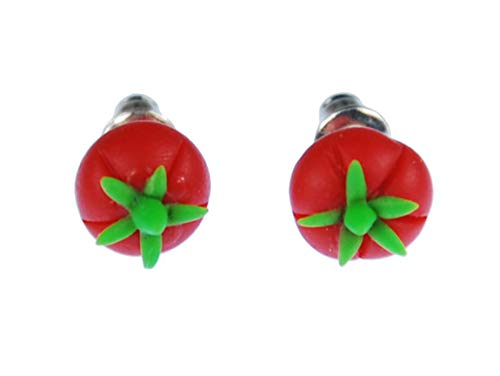 Tomato Earrings Ear Studs Earstuds Miniblings Vegetables Mini 3D Red Green