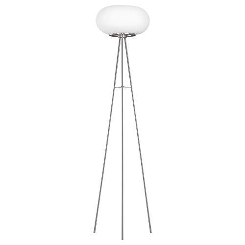 EGLO Dreibein Stehlampe Optica, 2 flammige Stehleuchte, Standleuchte aus Stahl, Farbe: Nickel matt, Glas: Opal matt weiß, Fassung: E27, inkl. Trittschalter