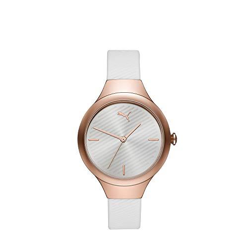 PUMA Women Contour Polyurethane Watch, Color: White/Rose (Model: P1018)