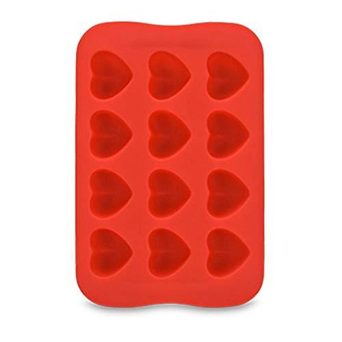 CTOBB Kuchen-Form-Stern-Quadrat-Geleeform Küchenzubehör 12 Gitter Runde Schokoladen-Form-EIS-Würfel-Herz kreative Silikon-1PC, Herz-Rot