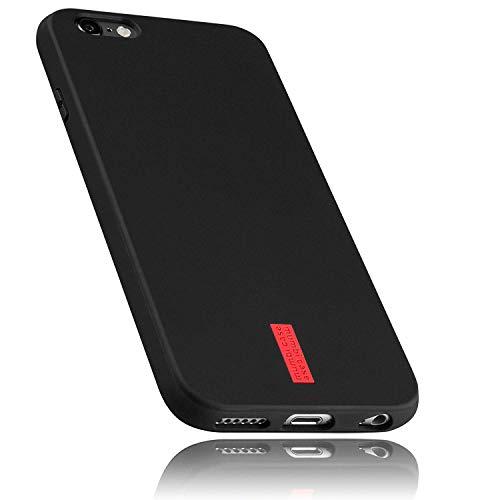 mumbi Hülle kompatibel mit iPhone 6 / 6S Handy Case Handyhülle, schwarz mit rotem Streifen - 4.7 Zoll
