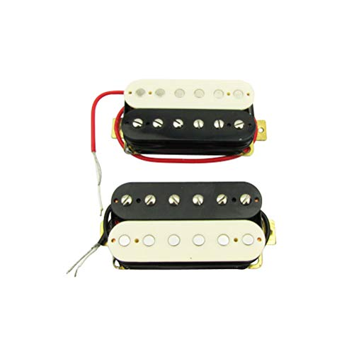 Musiclily 52mm Steg und 50mm Hals Humbucker Tonabnehmerset für Les Paul Style Gitarre,Zebra