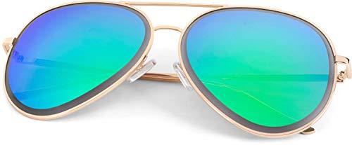 styleBREAKER Unisex Piloten Sonnenbrille mit geschliffenem Rand, verspiegelten Polycarbonat Gläsern und Metall Gestell, Piloten-Brille 09020102, Farbe:Gestell Gold/Glas Grün-Blau verspiegelt