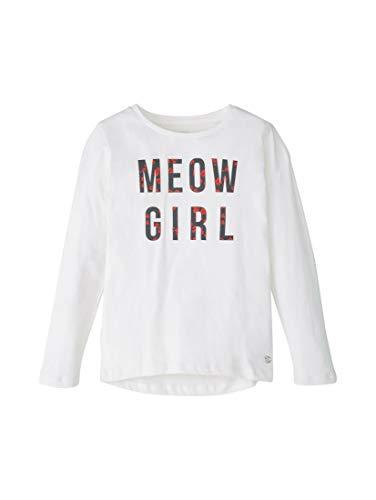 TOM TAILOR Mädchen T-Shirts/Tops Langarmshirt mit Print Cloud Dancer|White,104/110
