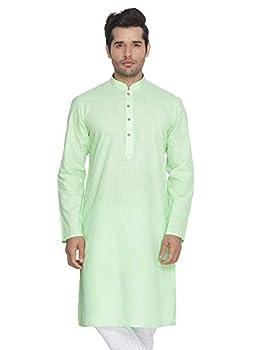 Elina fashionMen s Tunic Cotton Kurta Pajama Set Indian Traditional Wear Light Green
