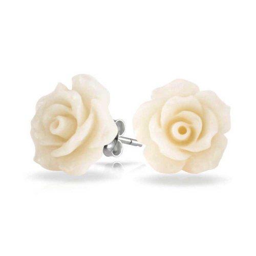3D-Craved Creme Weiße Blume Ohrstecker Für Damen Für Jugendlich Für Mutter Versilbert