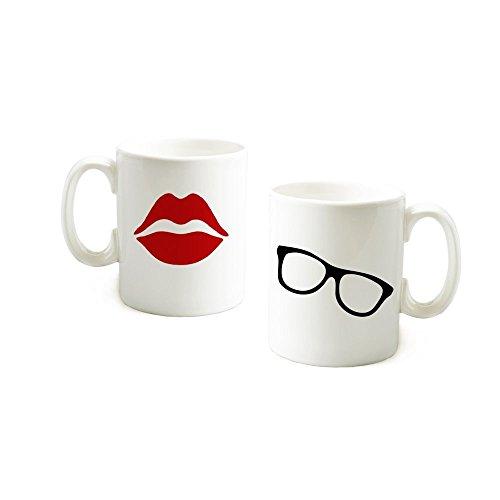 loQuenn Personalizzati Tazze Labbra Rosse e Sunglass Mugs-Valentines Day Gifts for Her/Him Regali di Nozze per Sposa e Sposo