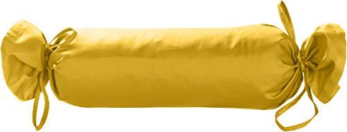 Bettwaesche-mit-Stil Mako Satin Rollen Kissenbezug 15x40 - Nackenrollenbezug Baumwolle 100% - Bezug-Nackenrolle einfarbig gelb - Made in EU