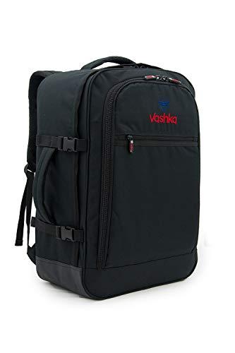 Vashka Handgepäck Rucksack 44 Liter - Leichtgewicht Reiserucksack für das Flugzeug Bordgepäck 55x40x20 cm - Schwarz