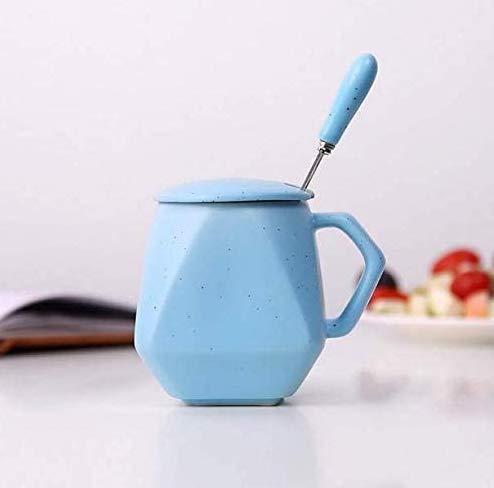 Gwill Taza de cerámica de color al azar con tapa y cuchara, taza de café de cerámica con tapa, tazas de té con mango geométrico para parejas, ideas para el día de la madre