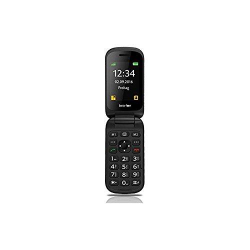 Beafon S480_EU001B Mobiltelefon (Innendisplay 240 x 320 Pixel, 4,49 cm (1,77 Zoll) Aussendisplay 128 x 320 Pixel, VGA Kamera, SOS-Notruftaste), 6,09 cm (2,4 Zoll) schwarz