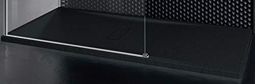 Piatto Doccia Novellini Custom Touch Ultrapiatto Dimensione 120x100 Spessore 3,5 cm Colore Nero Metacrilato Appoggio Filo Pavimento Sagomabile Effetto Pietra Compreso Piletta Scarico e Copri Piletta