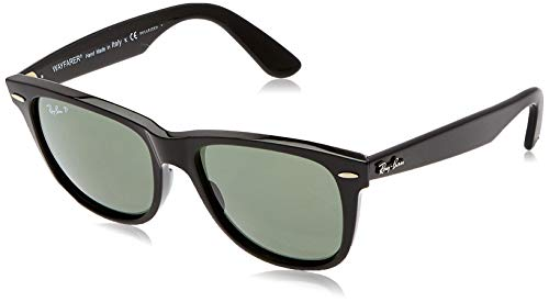 Ray-Ban RB2140 Original Wayfarer Sunglasses, Black/Polarized Green, 54 mm
