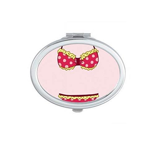 DIYthinker Sexy Pastèque Bikini Illustration Miroir Ovale Maquillage Compact Portable Mignon Miroirs de Poche à la Main Cadeau
