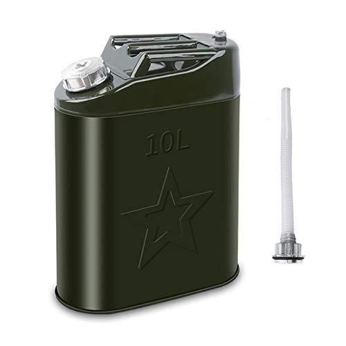 LJXLXY Contenedor de Gasolina Verdosa Metal Bidón/gasóleo/Combustible Puede Ideal con Tapa de Aluminio for Mantenerse en el Garaje o en Coche Metal Bidón para Combustible (tamaño : 10L)