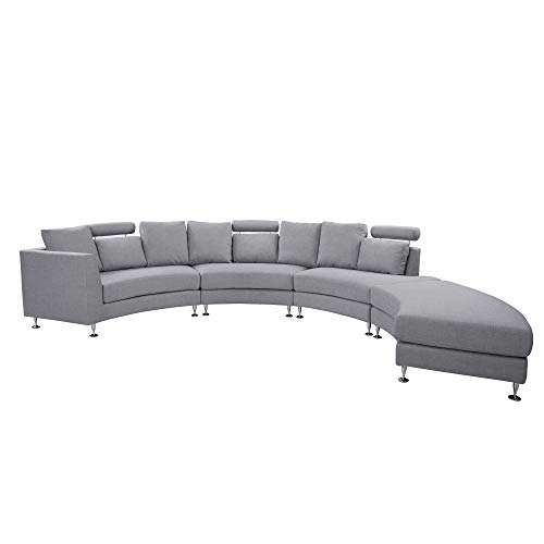Beliani Modern Curved Sectional Sofa with Chaise and Headrests Grey Fabric Rotunde