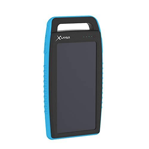 Xlayer Powerbank Plus Solar, Externer Akku für Smartphone und Tablet, mit integrierter Taschenlampe, optimal geeignet für Outdoor, Schwarz/Blau (15.000 mAh)