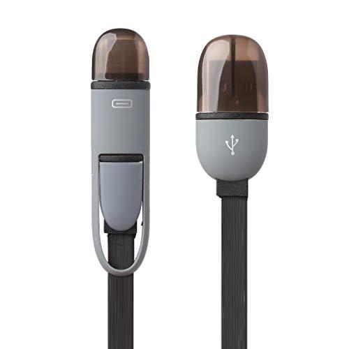 MEIYIN Cabo plano 2 em 1 USB 3.1 C + porta micro USB carregamento dados TPE para telefone 3 pés