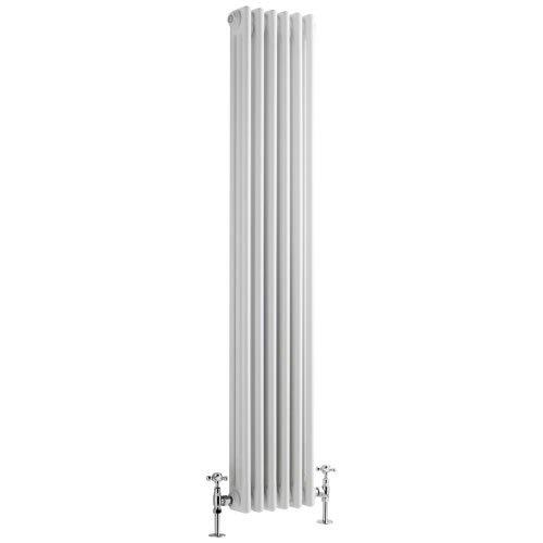 Milano Hudson Reed Regent Radiador de Diseño Vertical en Estilo de Hierro Fundido - Radiador con Acabado Blanco - Columnas 3 x 6-1041W - 1500 x 290 x 100mm - Calefacción