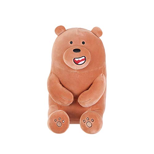 MINISO We Bare Bears Lovely Sitting Stuffed Plush Grizzly, Soft Toy for Kids, Brown