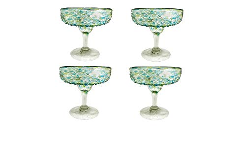 Mariposa Confetti Green Margarita Glasses Set of 4