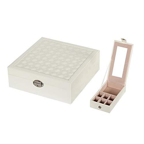 Preisvergleich Produktbild Hhjkl Schmuckkästen 2 Tier Storage Box Schmuck Travel Box mit Spiegel auf Deckel for Ohrringe Ringe Ketten (Color : White,  Size : 25.3X25X8.5CM)