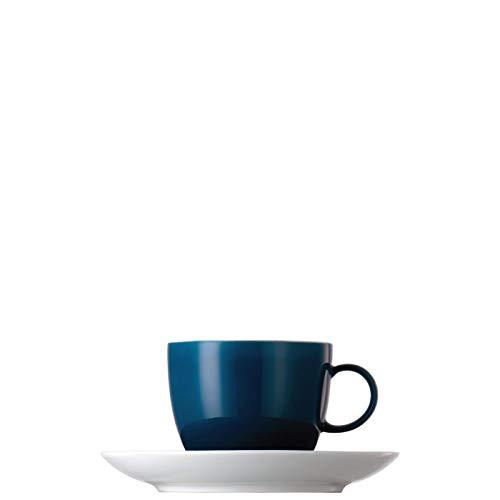 Tasse à Café et Soucoupe Thomas Sunny Day, Porcelaine, Petrol Blue / Bleu, Compatible Lave-Vaisselle, 20 cl, 2 Pièces, 14740