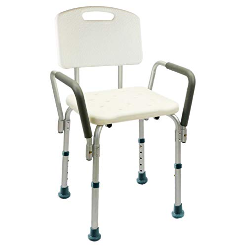 Silla de Ducha/Baño Ortopédico con Respaldo, Ajustable en Altura, Conteras Antideslizantes para Personas Mayores (7275465)