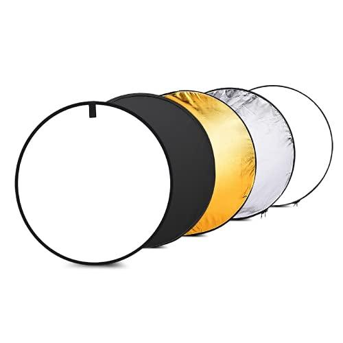 """撮影用 レフ板 反射板 24""""60cmディスク5in 1(ゴールド、シルバー、ホワイト、ブラック、半透明)マルチポータブル折りたたみ式写真スタジオフォトライトリフレクター 人物撮影 写真撮影対応"""