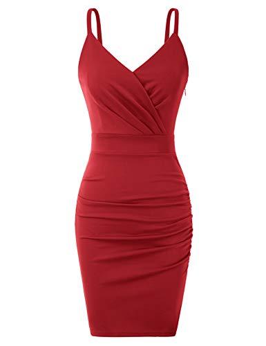 Women V Neck Nightclub Dress Spaghetti Strap Bodycon Backless Dresses Red XL