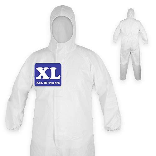 1x Schutzanzug mit Kapuze | Schutzkleidung | Medizinischer Overall nach EN14126 | Kategorie III Typ 5/6 | Einweg Overall, Einmal Overall weiß | Unisex Größe XL