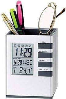 Tuelip Cube Digital Desk Alarm Clock with Pen Holder, 1 Compartments Desk Clock Stand.
