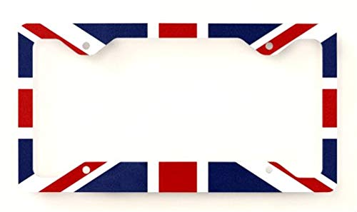 Estodian British Union Jack Flag United Kingdom Checkered Checkerboard Car License Plate Tag Holder Frame (1 Flag)