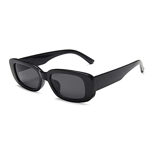 WANGZX Gafas De Sol Rectangulares Pequeñas De Moda Gafas De Sol Cuadradas De Moda Retro para Mujer Uv400 Gafas De Sol Al Aire Libre para Hombres Blackgray