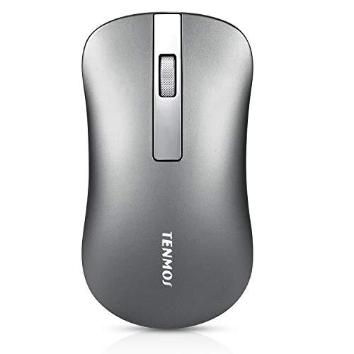 Coener Raton Inalambrico Recargable, Slim Ultra Silencioso 1600 dpi Wireless Mouse with Nano Receiver para Computadora Portatil, PC, Portátil, Computadora, Macbook (Gris)