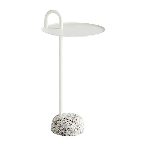 Bowler bijzettafel, crèmewit staal gepoedercoat H 70,5cm Ø 36cm voet graniet H9cm x Ø19cm
