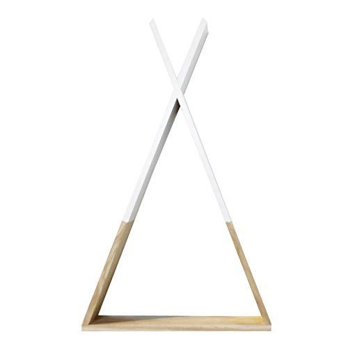 Lsgepavilion - Estantería de madera con triángulo para salón o pared, Blanco, talla única